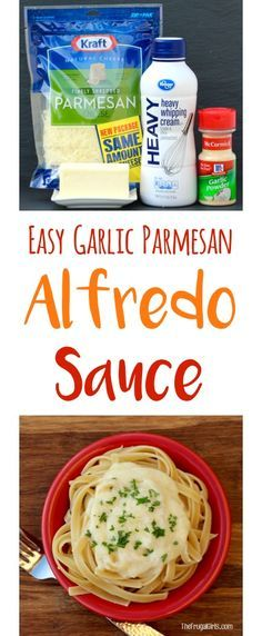 Easy Garlic Alfredo Sauce Recipe!  Just 5 ingredients and the ultimate comfort food... perfect for your fettuccine or tortellini! | TheFrugalGirls.com