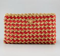 Prada  Crocheted Raffia Large Clutch