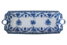 Antique Flow Blue Tea Sandwich Tray