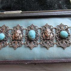 Art Deco Czech Filigree Bracelet. Egyptian by CobwebandThistledown