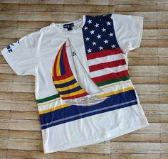 Vintage Polo Ralph Lauren Stadium Indian RARE Sailing T Shirt RL 92 1992 #RalphLauren