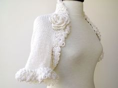White COTTON Bridal Shrug Ready For Shipping by knittingshop, $55.00