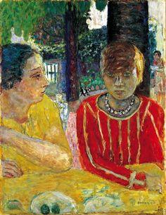 Pierre Bonnard (1867 - 1947) Marthe Bonnard and Reine Natanson in Red Blouse (Reine Natanson et Marthe Bonnard au corsage rouge),1928 Musee d'Orsay, Paris, France