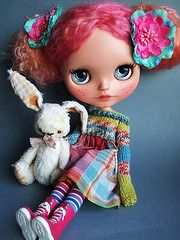 Michelle and the Bunny (malkama) Tags: blythe custom ebl reroot asianbutterfly cangaway malkama medveduska