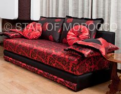 Regal Black and Red Moroccan Sofa: $2090