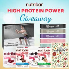 #Nutribar is excited to announce our Instagram exclusive #HighProtein Power Summer #Giveaway to help you power through this crazy time! One lucky winner will receive two boxes of Nutribar High Protein bars, two #HighProtein Smoothie jars plus an awesome set of Polygon Resistance Bands and an Unstoppable Food & Fitness Journal to keep track of your health goals from the comfort of your own home! Enter today! High Protein Bars, Protein Power, Smoothie Jar, Fitness Journal, Resistance Bands, Workout Guide, Health Goals, Giveaways, Jars