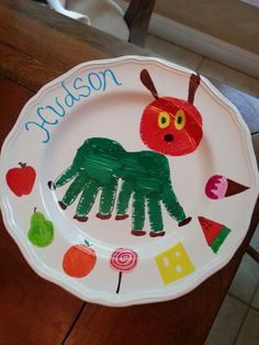 Handprint art. Sharpies on ceramic plate in oven at 350º for 30 min makes it permanent! Hand wash.