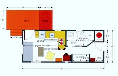 Copyright Home Rumors Design  250 sq. ft. structure on existing property, renovated as a Guest House/Studio Apartment Income Property.  My initial presentation basic floor/space  plan for the structure, created for a client in 2011.  All materials, furnishings, labor were priced out. Project design accepted by client.  Some information:  Sleeper Sofa/Drop Leaf Kitchen Counter Dining/Folding-Drop Desk Wall Unit/Stacked Washer-Dryer Unit/HVAC In-Wall Unit/Half-Shed Storage Unit on Deck
