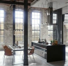 Vintage Industrial Decor Vintage Industrial Decor:HAVE THE BEST INDUSTRIAL KITCHEN STYLE - I bet everybody loves an industrial kitchen style. It's aesthetically pleasing even if not the most popular trend in kitchen design. The clues from the old ind Loft Interior Design, Industrial Interior Design, Industrial Interiors, Loft Design, Interior Architecture, House Design, Industrial Furniture, Industrial Decorating, Design Shop