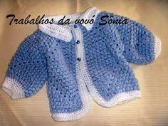 Trabalhos da vovó Sônia: Casaquinho de bebê hexagonal azul e branco - croch...
