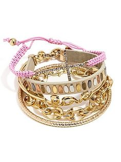092d8d01803 Gold-Tone and Pink Arm Party Bracelet Set