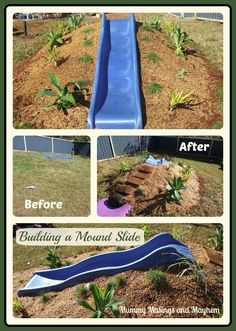 Natural Playspaces - Building a Mound Slide via Mummy Musings and Mayhem natural playground ideas How to build a hill slide for children's outdoor play area! Kids Outdoor Play, Outdoor Play Spaces, Kids Play Area, Backyard For Kids, Backyard Projects, Outdoor Learning, Backyard Play Spaces, Natural Play Spaces, Kids Yard