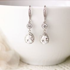 Wedding Jewelry, Bridal Earrings, Crystal Wedding #weddingearring #weddingjewelry #weddingearrings #bridaljewelry #bridalearrings #cubiczirconia #dropearrings #crystalearrings #crystaljewelry #dangleearrings #teardropearrings #czearrings