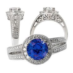 18k cultured 6.5mm round blue sapphire engagement ring with natural diamond halo