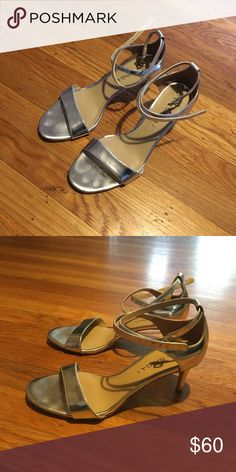 Via Spiga Silver Sandals with Ankle Straps Low heel, criss-cross strap across ankle. Shiny silver. Via Spiga Shoes Sandals