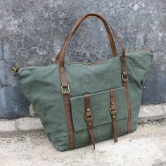 Leather Women Canvas Casual Green Messenger Bag