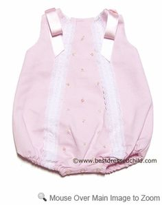 Luli & Me Infant Baby Girls Pique Bubble with White Lace and Satin Bows on Shoulders - PINK