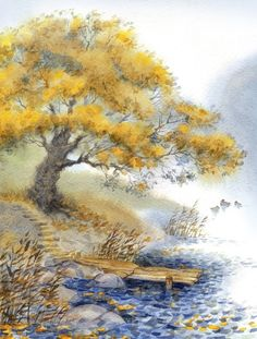 Trees Watercolour Painting | www.wallartprints.com.au #WatercolourArt #WallArtPrints