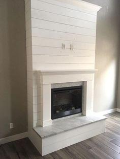 Fake Fireplace, Shiplap Fireplace, Farmhouse Fireplace, Fireplace Hearth, Fireplace Remodel, Living Room With Fireplace, Fireplace Surrounds, Fireplace Design, Living Room Decor