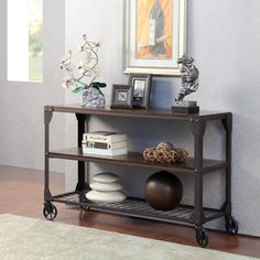 Baxton Studio Dreydon Rustic Industrial Antique Bronze Finishing Walnut Wood Occasional Console Table | Overstock.com Shopping - The Best Deals on Coffee, Sofa & End Tables