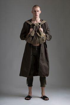 Vintage Men's Comme des Garcons Coat and Military Backpack. Leaf print leggings. Designer Clothing Dark Minimal Street Style Fashion