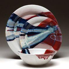 Handmade pottery dinnerware by Mangum Pottery