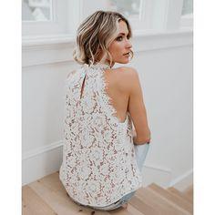 52ddacf99 Elegante de encaje Floral blusa Camisa sin mangas mujer blusa blanca  Primavera Verano hueco Tops blusa