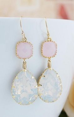 Pastel pink and blue wedding earrings.  The perfect wedding jewellery for your big day.    Via Stay at Home Mum.com