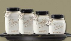 New Primitive Farmhouse Chic MASON JAR CANISTER SET Crock Flour Sugar Coffee Tea #Unbranded