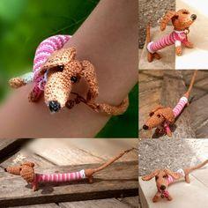 Gehäkelte Hund Dackel kleine Amigurumi Spielzeug häkeln Armband Hund machen, auf Bestellung