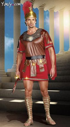 The two-piece, Marcus Abonius costume includes a men's tunic with attached cape, embellished neckline, scalloped studded detailing along waist and hem and a magnificent Roman warrior hat with faux fur trim.
