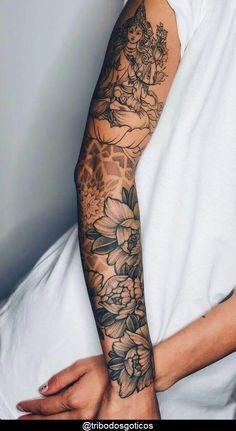 Feminine Tattoo Sleeves, Feminine Tattoos, Simple Tattoos For Women, Best Tattoos For Women, Mini Tattoos, Body Art Tattoos, Leg Sleeve Tattoo, Female Tattoo Sleeve, Tattoo Arm