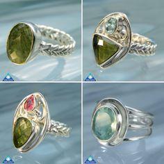 Rings! New beautiful handmade rings with #moldavite #aquamarine #rubellite #celticbraidedband #facetedmoldavite #pinktourmaline #sterlingsilver 💚💗🍀💙🍀🌠💎💥☄🌟😍💍💍💍💍