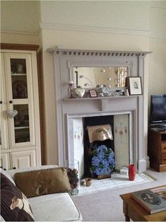 Wonderful Screen painted Fireplace Hearth Ideas Farrow and Ball Elephants Breath Fireplace surround Wooden Fire Surrounds, Wooden Fireplace Surround, Fireplace Seating, Paint Fireplace, Fireplace Built Ins, Fireplace Hearth, Fireplace Surrounds, Fireplaces, Painted Fire Surround
