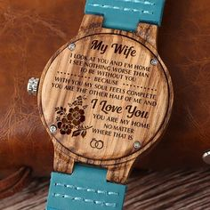 Get your wife something special! This is a beautiful watch made from real wood. The watch case is made from wood and the strap made from genuine leather. Also make a Great Birthday, Anniversery Gift. Great Gifts For Wife, Diy Gifts For Dad, Gifts For Husband, Love Gifts, Gifts For Him, Best Gifts, Beautiful Gifts, Simply Beautiful, Romantic Gifts