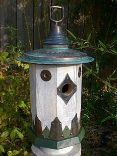 The Wren House: Arts and Crafts/Mission Style Birdhouse Handmade From Reclaimed Barn Wood and Vintage Metal
