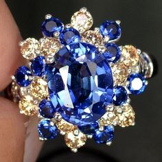 A Vintage Oval Cut Blue Sapphire & Topaz Ring Sapphire Jewelry, Blue Sapphire Rings, Expensive Jewelry, Champagne Diamond, Topaz Ring, Jewelry Gifts, Handmade Jewelry, Bling, Jewels