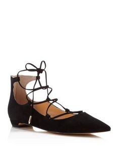 IVANKA TRUMP Tropica Pointed Toe Lace Up Flats | Bloomingdale's