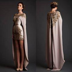 online shopping 2016 Arabic Krikor Jabotian Two Pieces Short Prom Dresses with Appliques Mini Arabic Party Dresses Cape Cloak Bridal Gowns BA0432