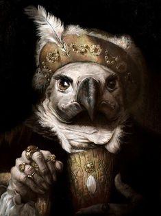Anthropomorphic Tudor costume white owl painting