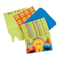 "Sesame Street® 1st Birthday ""Thank You"" Notes - OrientalTrading.com"