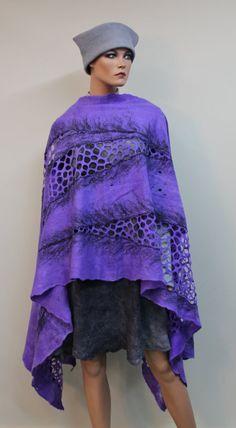 "Felted shawl ""Purple night"""