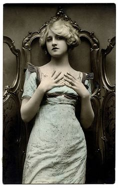 Victorian vintage postcard woman.
