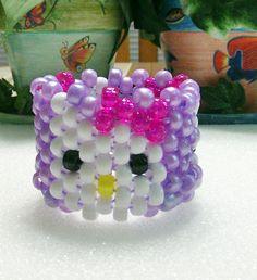 Kandi Stretch Beaded Cuff Bracelet In Hello by TheBeadedDiamond, $5.00