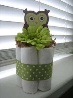 OWL Mini Diaper Cakes for Shower cute idea to make several for center pieces on tables
