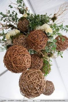 A closer view, this eco-chic chandelier is made with hanging wooden and moss balls from a manzanita branch base. then covered it in silver dollar eucalyptus, willow branches, gras Manzanita Branches, Willow Branches, Floral Chandelier, Chandelier Wedding, Branch Chandelier, Rustic Chandelier, Chandelier Ideas, Chandeliers, Wedding Centerpieces