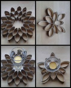 No translation available that I could find but pretty self-explanatory. Paper Towel Crafts, Toilet Paper Roll Crafts, Paper Crafts Origami, Paper Quilling, Rolled Magazine Art, Diy Craft Projects, Diy And Crafts, Toilet Paper Roll Art, Diy Cardboard