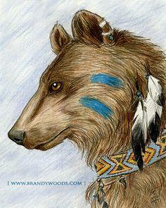 Native American Inspired Medicine Bear Healer art by brandywoods, $9.95