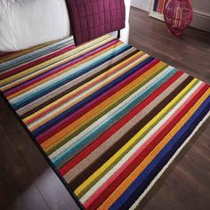 Spectrum Tango Rugs Multi Coloured Modern Contemporary Striped Rug and Runner Contemporary Rugs, Modern Rugs, Tango, Colorful Rugs, Multicoloured Rugs, Striped Rug, Buy Rugs, Centre Pieces, Stripes Design