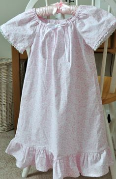 Little Girl's Cotton Peasant Nightgown - SZ 5 - RTS. $25.00, via Etsy.